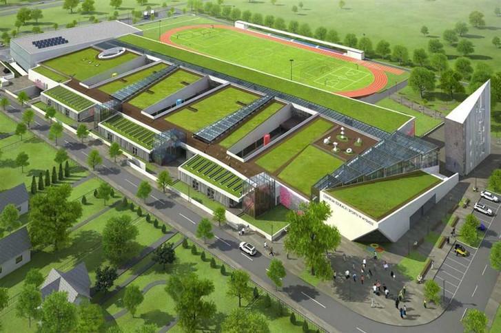 Wizualizacja Centrum Edukacji i Sportu. Na razie wybudowano 1/3 kompleksu, tę najbardziej na lewo.